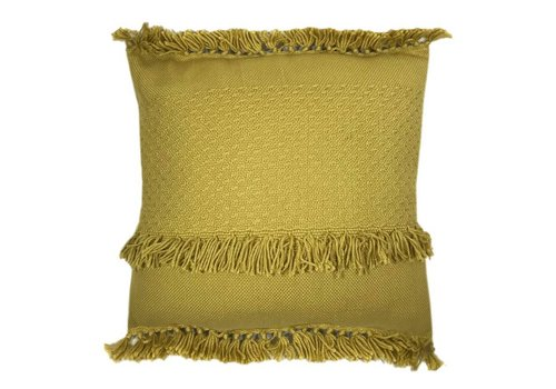 Mustard fringe cushion