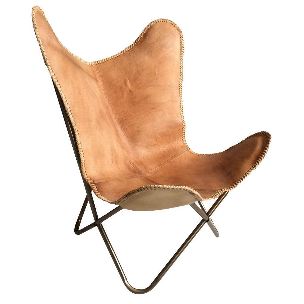 Leather Butterfly Chair Natural Brown. Prev
