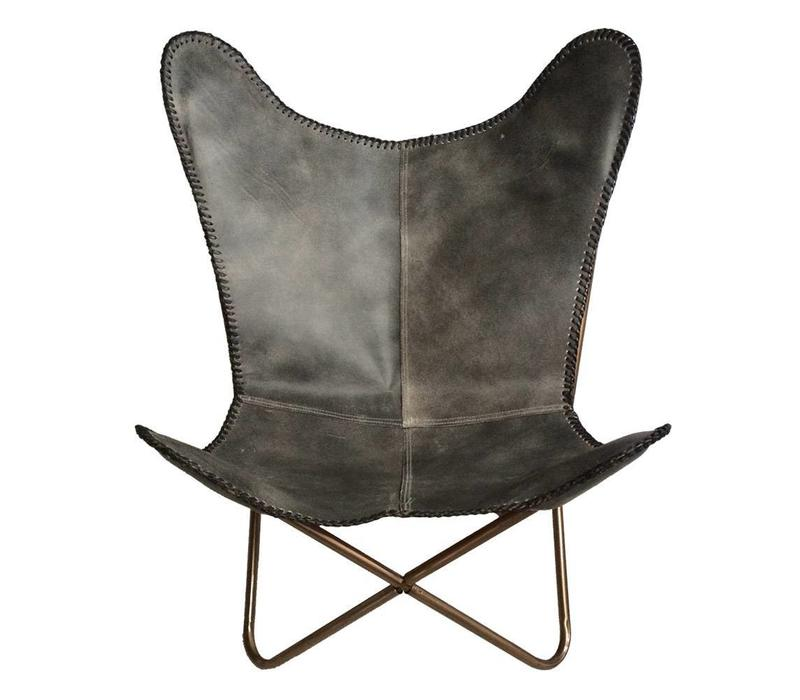 Leather butterfly chair vintage grey