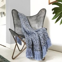 Velvet blue throw