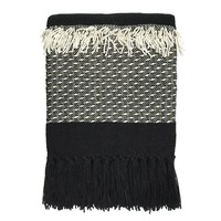 Black 'n white fringe throw