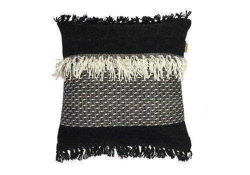 Black 'n white fringe cushion (NEW)