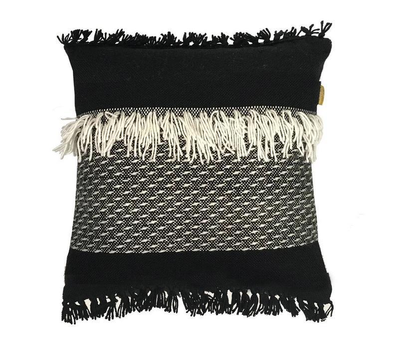 Black 'n white fringe cushion