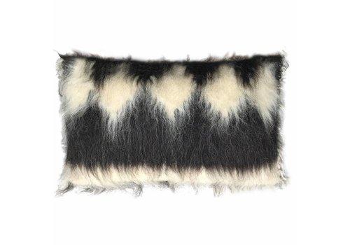 Diamond rectangle cushion black 40x70