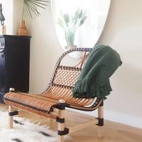 Rattan lounge chair black