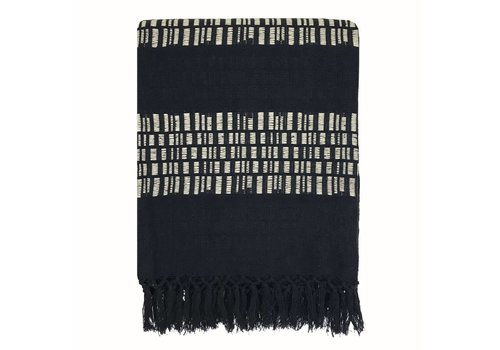 Bark stripe cotton black throw (NEW)
