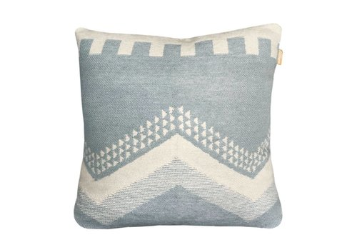 Zig zag fun misty blue cushion