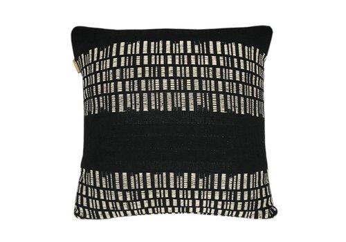 Bark stripe cotton black cushion (March 15)