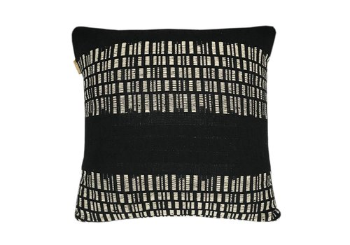 Bark stripe cotton black cushion (NEW)