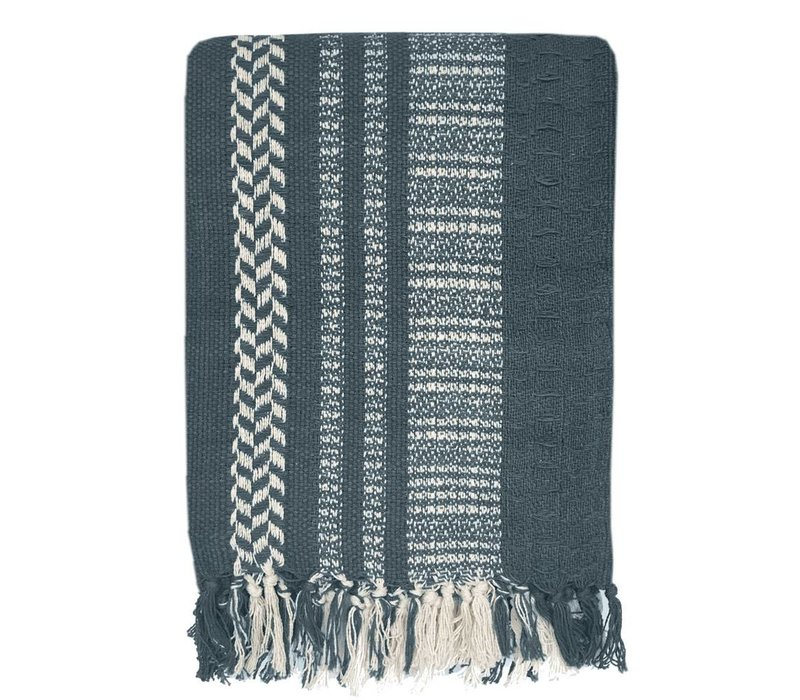 Cheyenne stripe dark blue throw (NEW)