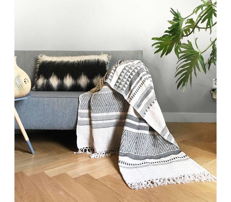 Native stripe cotton offwhite throw 135x220cm (NEW)