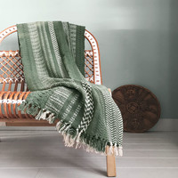 Cheyenne stripe faded green throw