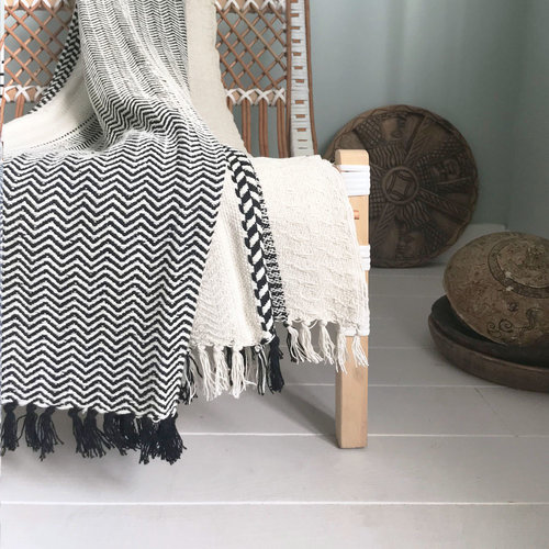 So much for sun chilling... cheyenne stripe offwhite throw now available, pure cotton...