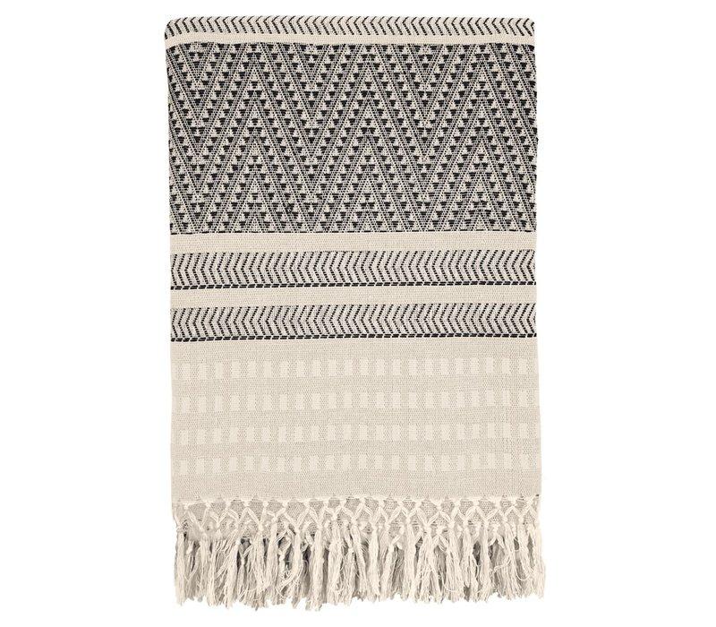 Native stripe cotton offwhite throw 135x220cm (15 Sep)
