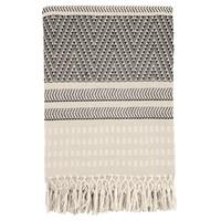 Native stripe cotton offwhite throw 220x270cm (NEW)