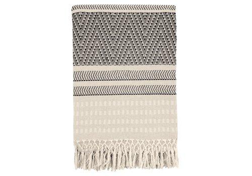 Native stripe cotton offwhite throw 220x270cm
