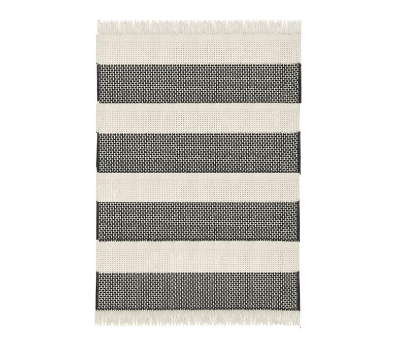 Rustic basket stripe throw offwhite