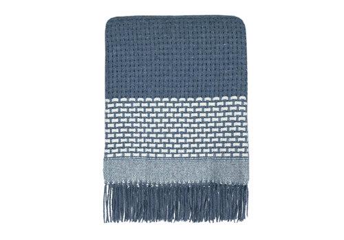 Rustic basket stripe throw blue