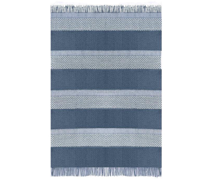 Rustic basket stripe throw blue (NEW)