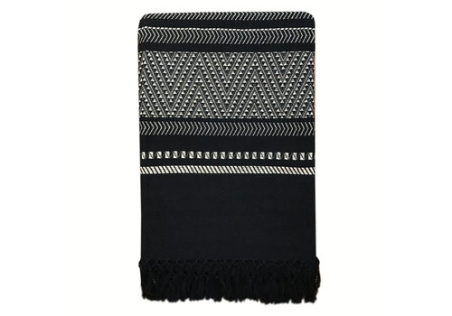 Native stripe cotton black throw 240x270cm (NEW)