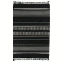 Native stripe cotton black throw 220x270cm (NEW) (15 Oct)