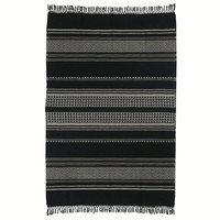 Native stripe cotton black throw 135x220cm (NEW)