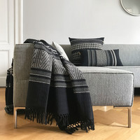 Native stripe cotton black throw 135x220cm (NEW) (15 Oct)