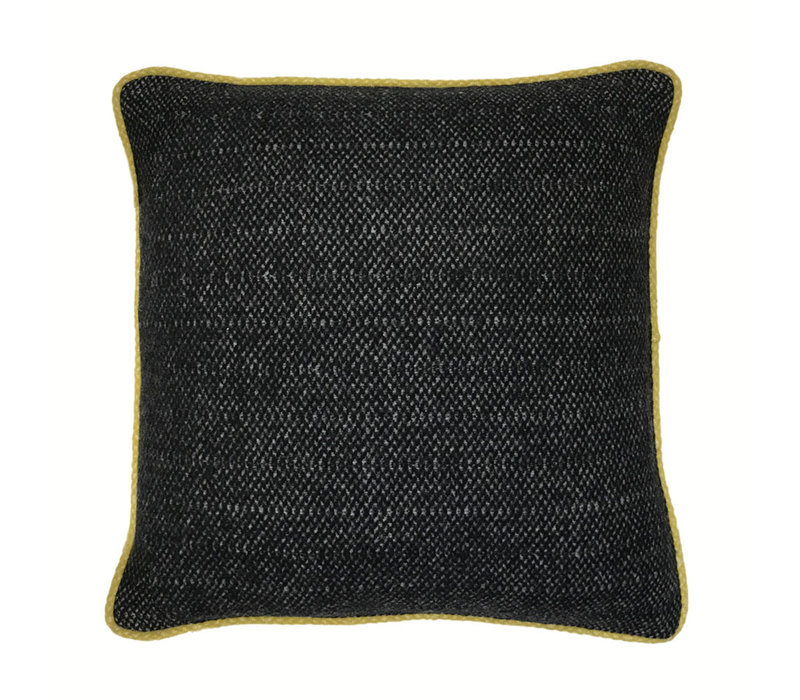 Crow black structure recycled wool square cushion (NEW)