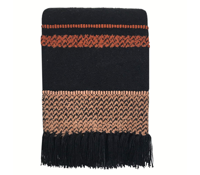 Multicolor black throw (NEW)