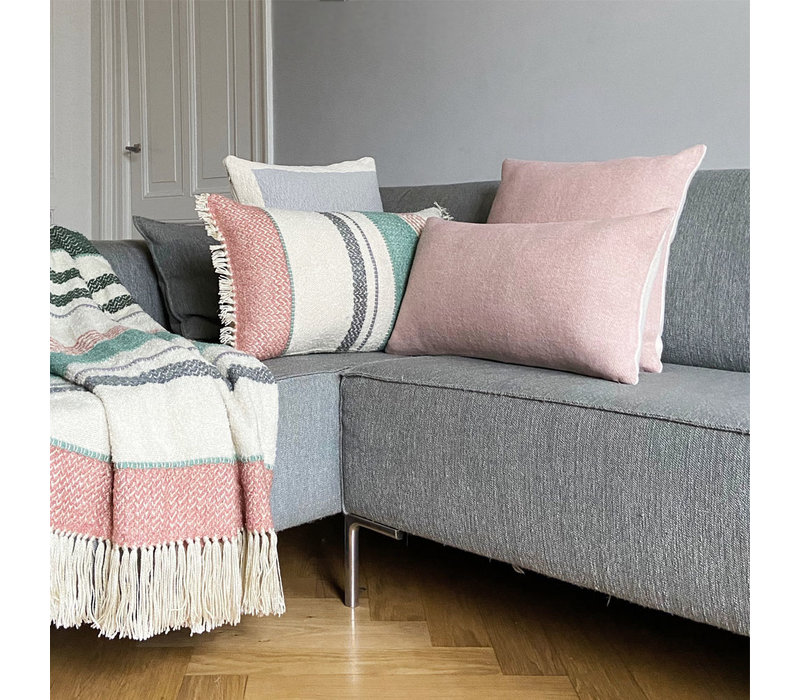 Misty pink double faced recycled wool square cushion (NEW)