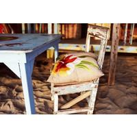 Pacific flower jute cushion
