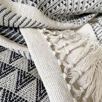 Native stripe cotton offwhite throw 135x220cm