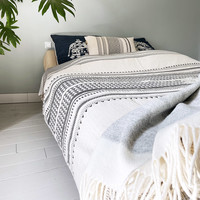 Native stripe cotton offwhite throw 220x270cm