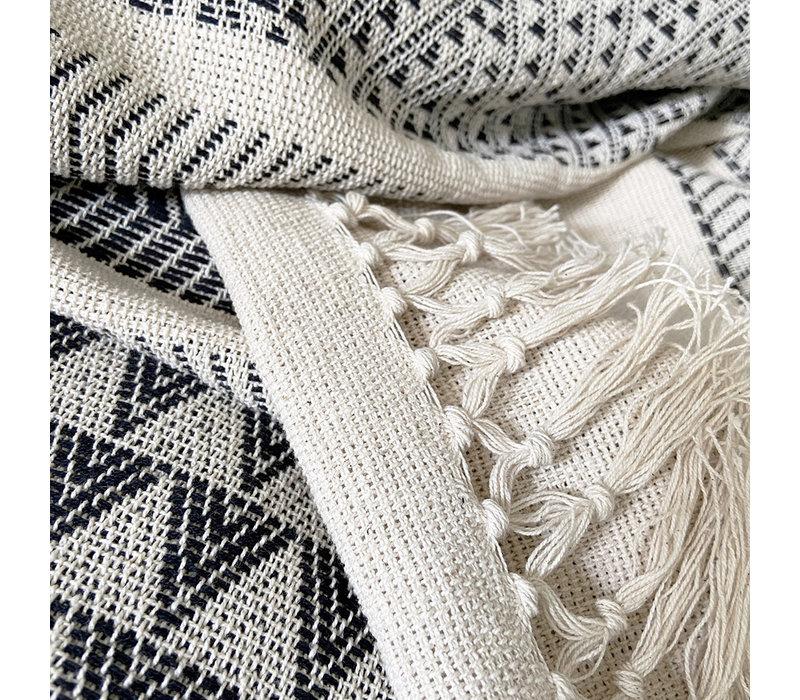 Native stripe cotton offwhite throw 240x270cm (NEW)