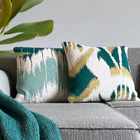 Ikat knitted cushion green (NEW)