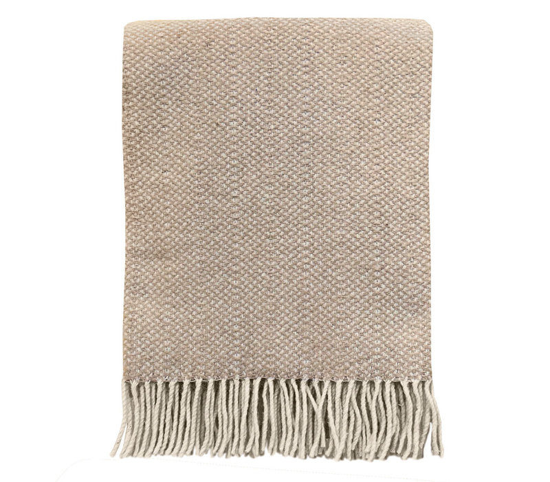 Beige structure recycled wool throw (NEW)