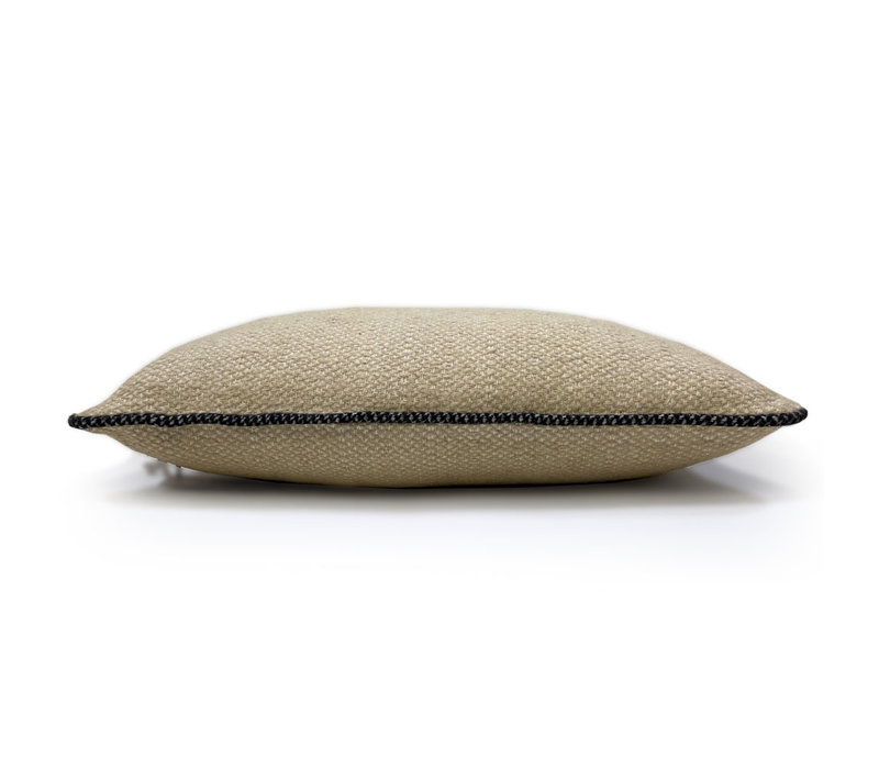Beige structure recycled wool square cushion (NEW)