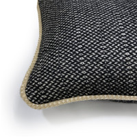 Raven black structure recycled wool rectangle cushion (NEW)