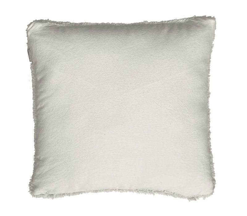 Tufted solid cushion ivory white