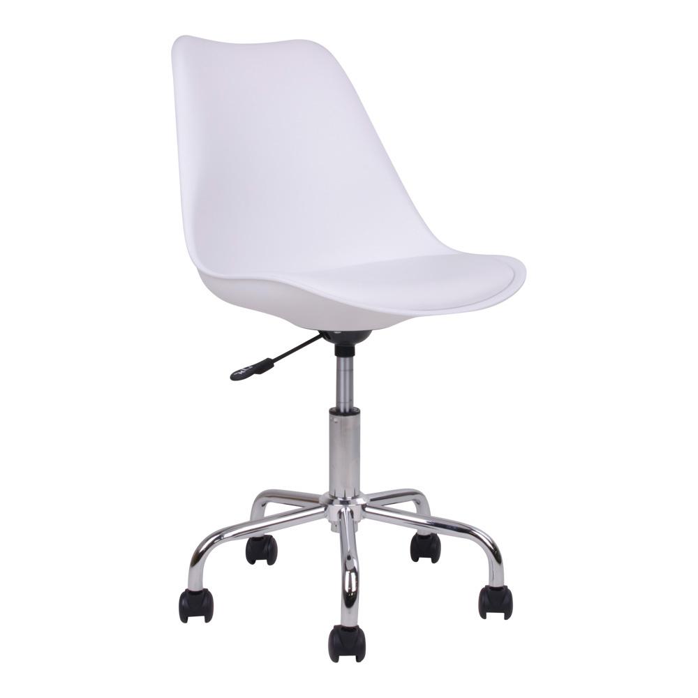 House Nordic Moderne Bureaustoel in wit met chromen poten Stavanger - L54xB48xH84-94  CM