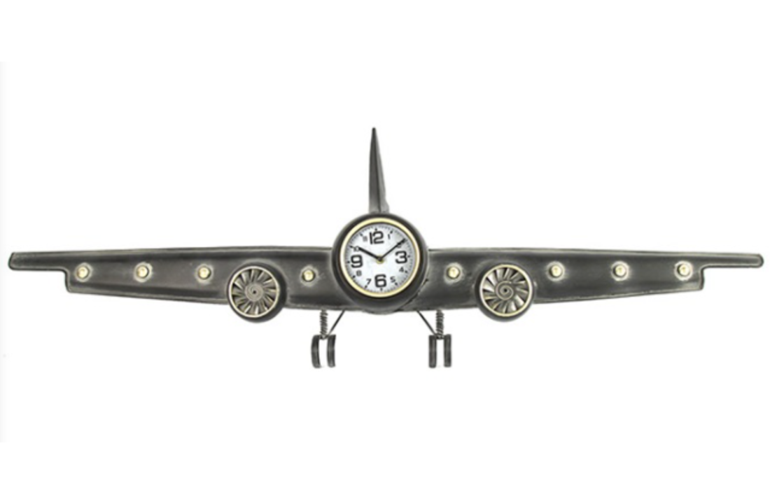 Industriële grijze klok vliegtuig ''Kelvin'' - L6B122,5H38,5CM