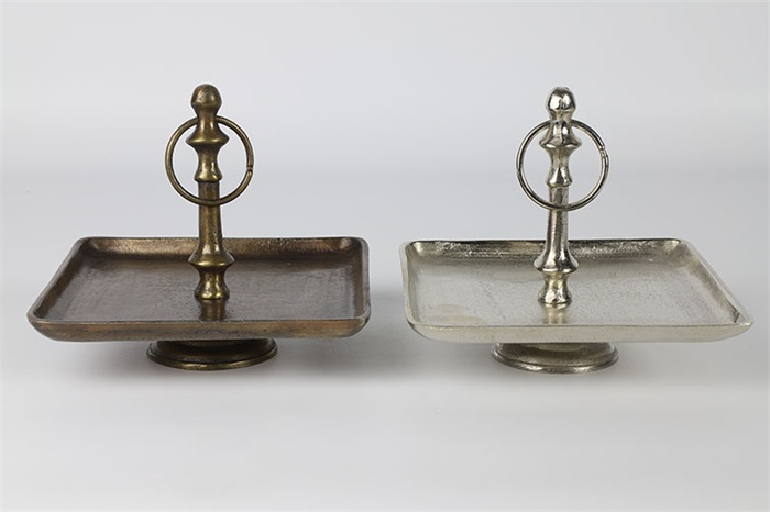 Decostar Industriële brass/nickel ''Resie'' etagere  2 kleuren - L19,5xB19,5xH18,5 cm