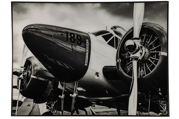 Countryfield Moderne zwarte ''Hawker'' schilderij vliegtuig - L2xB80xH60 cm