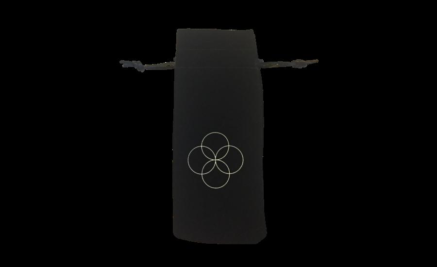Gemstone beauty roller Rose Quartz in black pouch
