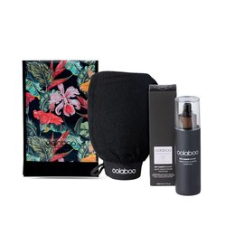 skin superb bronzer set incl scrub mitt & stand up pouch (zwart)