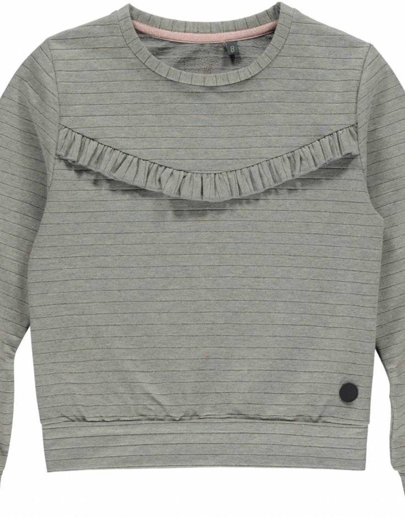 Trui Grijs.Sweater Grey Melee Stripe Minimoda Nl