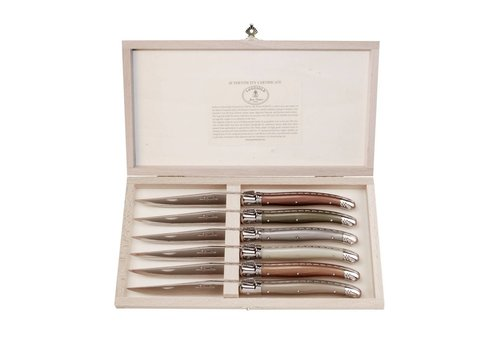 Laguiole Laguiole 6 Steak Knives 2,5 mm Mineral Mix in Box