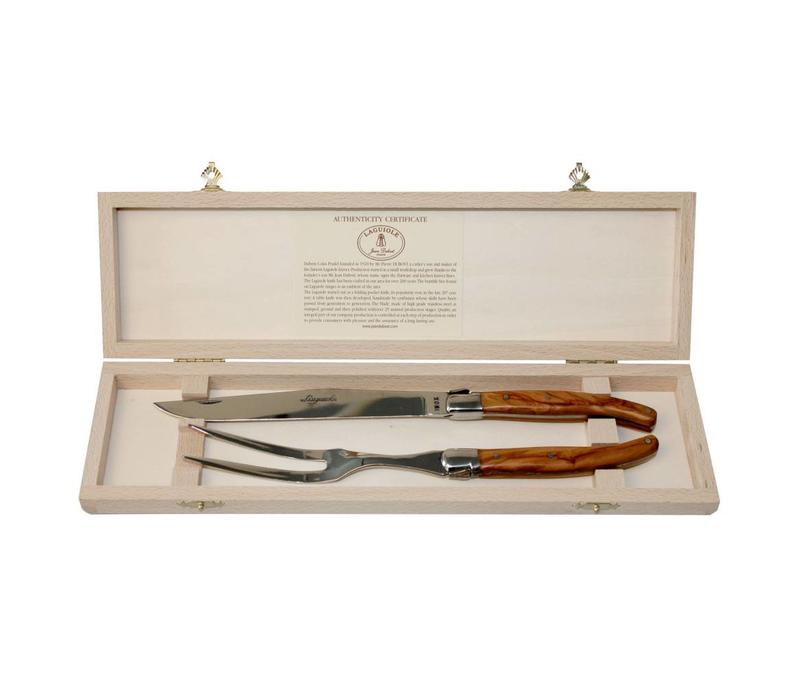 Laguiole Carving Knife & Fork Olive in Box
