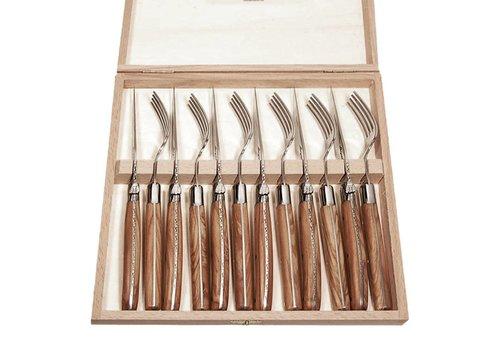 Laguiole Laguiole 6 Steakmesser & 6 Gabeln 2,5 mm in Kiste Olivenholz
