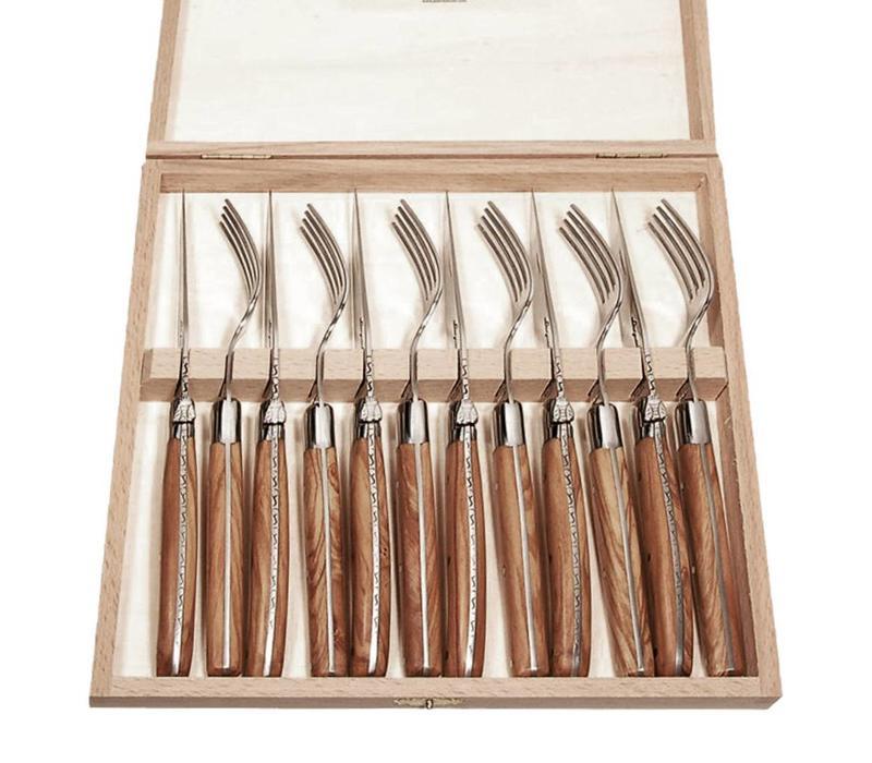 Laguiole 6 Steakmesser & 6 Gabeln 2,5 mm in Kiste Olivenholz